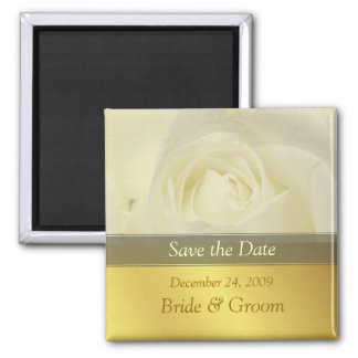 Save the Date Magnet, white rose Square Magnet