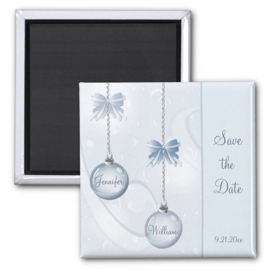 Save the Date Magnet Winter Baubles and Bows