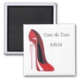 Save the Date Magnet with Champagne Flute Stiletto
