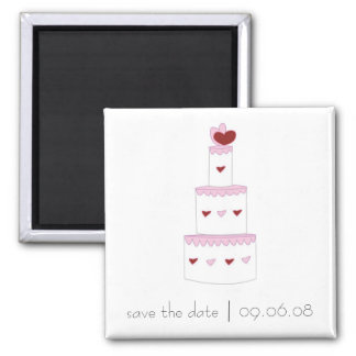 Save the Date Magnet with Wedding Cake Design