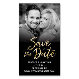 Save the Date Magnets Cheap | Black Gold Wedding