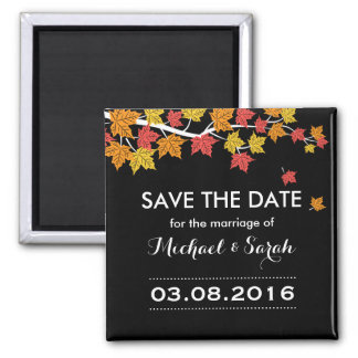 Save The Date Maple Leaves Autumn Wedding Magnet