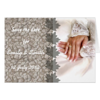 Save the date marble and white add your own photo greeting card