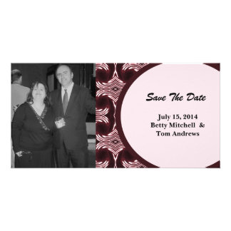 Save the Date Maroon Art Deco Customized Photo Card