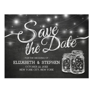 Save The Date Mason Jar String Lights Chalkboard Postcard