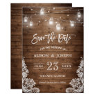 Save The Date Mason Jars Lights Rustic Wood Lace Card