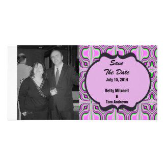 Save the Date Mod Pink Mauve Custom Photo Card