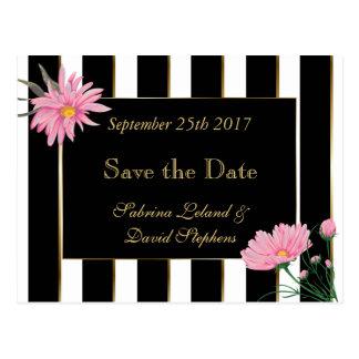 Save the Date Modern Black Stripes Pink Mums Postcard