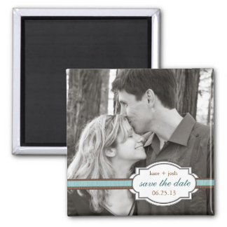 Save the Date Modern Brown & Teal Faux Ribbon Square Magnet