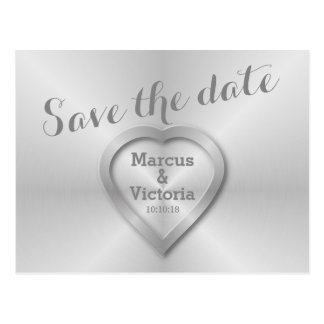 Save the date Modern Brushed Aluminum Postcard