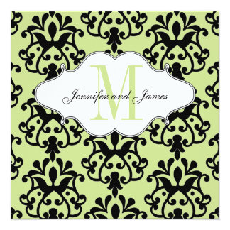 Save The Date Modern Damask Green Wedding 13 Cm X 13 Cm Square Invitation Card