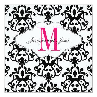 Save The Date Modern Damask Hot Pink Wedding Card