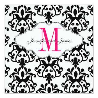 Save The Date Modern Damask Hot Pink Wedding 13 Cm X 13 Cm Square Invitation Card