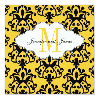 Save The Date Modern Damask Yellow Wedding Card