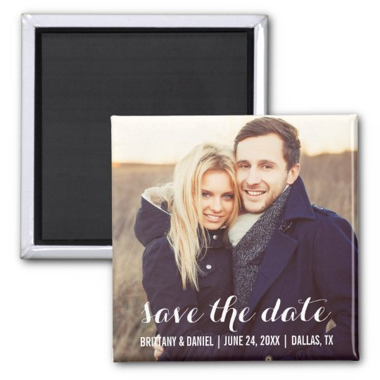 Save The Date Modern Engagement Photo Magnet S W