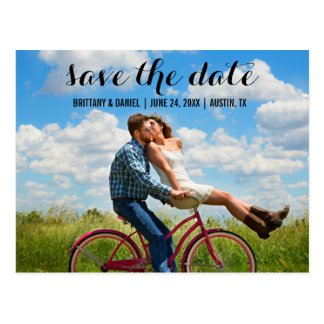 Save the Date Modern Engagment Photo Postcard BT