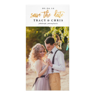 SAVE THE DATE modern glitter announcement Picture Card