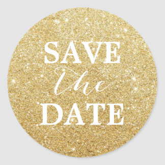 Save the Date Modern Gold Glitter Elegant Wedding Classic Round Sticker