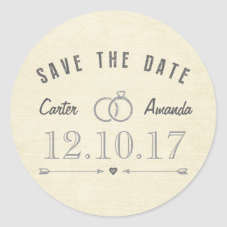 Save The Date Modern Rustic Light Tan Wood Round Sticker