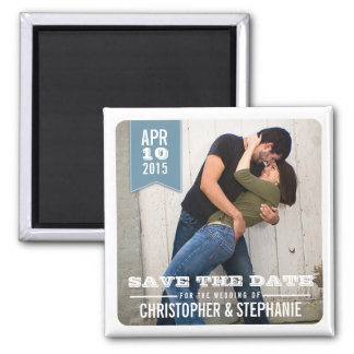 Save the Date Modern Rustic Photo Magnet   Blue