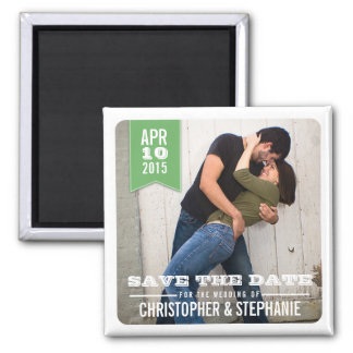 Save the Date Modern Rustic Photo Magnet   Green