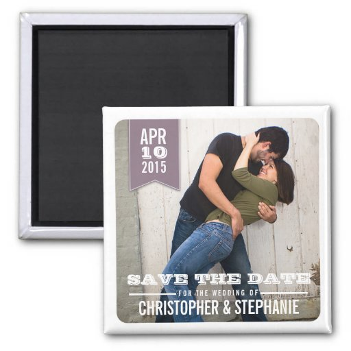 Save the Date Modern Rustic Photo Magnet | Plum