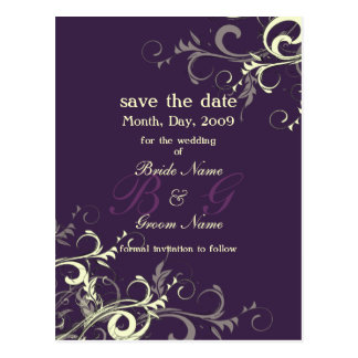 Save the Date, monogram cream swirls/DIY color! Postcard