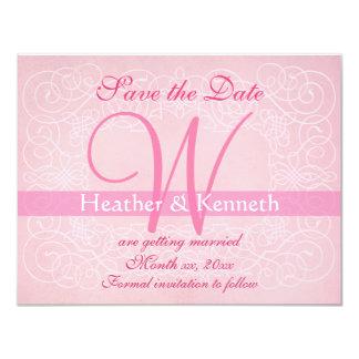 Save the Date Monogram Pink 11 Cm X 14 Cm Invitation Card