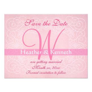 Save the Date Monogram Pink Custom Invite