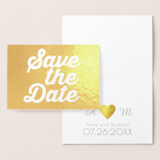 save the date monogrammed wedding foil card