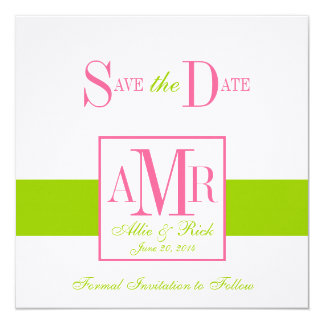Save the Date Monograms for Weddings Green Pink 13 Cm X 13 Cm Square Invitation Card