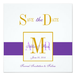 Save the Date Monograms for Weddings Purple Gold 13 Cm X 13 Cm Square Invitation Card
