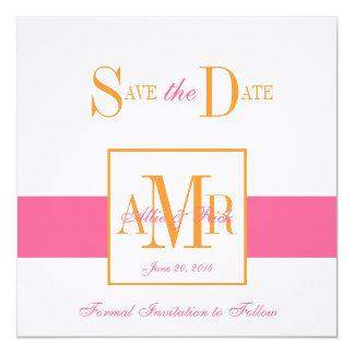 Save the Date Monograms Weddings Pink Orange 13 Cm X 13 Cm Square Invitation Card
