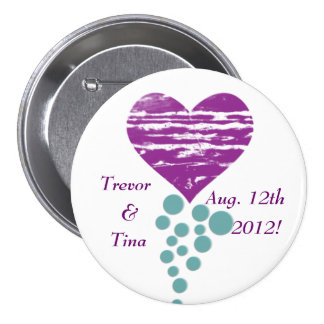 Save The Date My Grunge Heart Round Pin