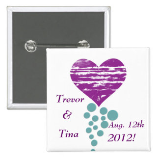 Save The Date My Grunge Heart Square Pin