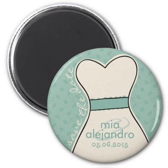 Save the date (names and date) Customisable 6 Cm Round Magnet