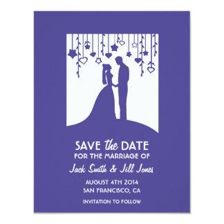 Save the date - navy blue bride & groom shadows 11 cm x 14 cm invitation card