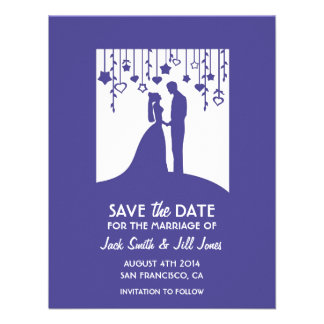 Save the date - navy blue bride groom shadows announcement