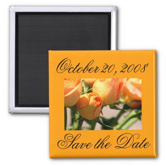 Save the Date October Orange Roses Magnet