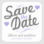 Save The Date Old Fashioned Labels (Grey / Purple) Square Sticker