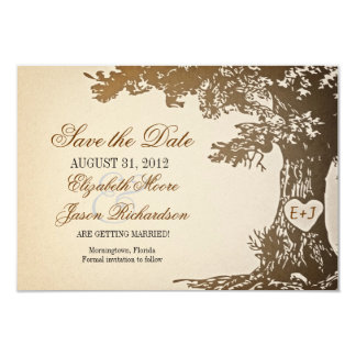save the date old tree vintage flat cards
