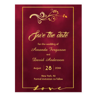 Save the date on burgundy gold decor postcard