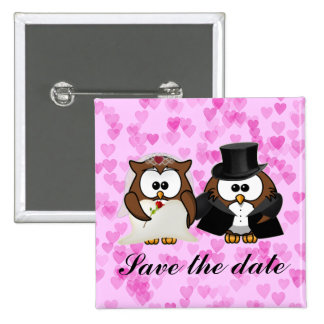 save the date owl 15 cm square badge