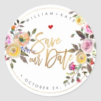 Save the Date, Pastel Watercolor Flowers Classic Round Sticker