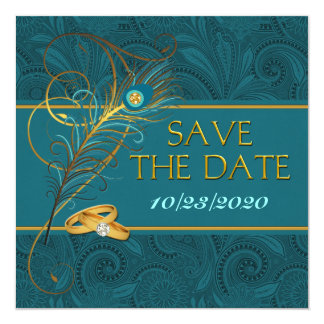 Save the Date Peacock Teal Wedding 13 Cm X 13 Cm Square Invitation Card