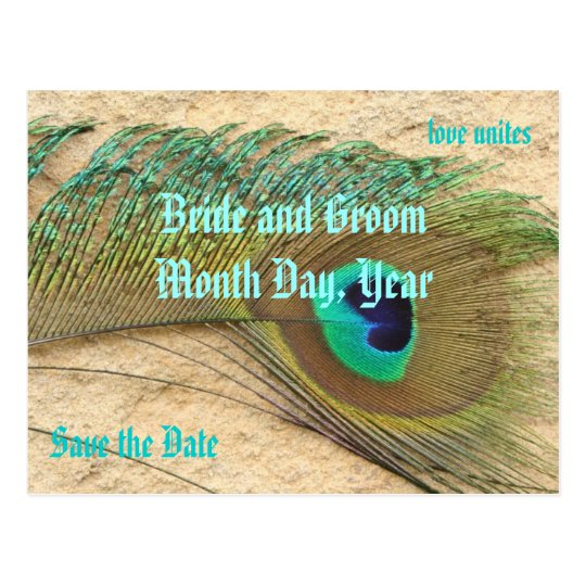 Save the Date Peacock Theme Postcard