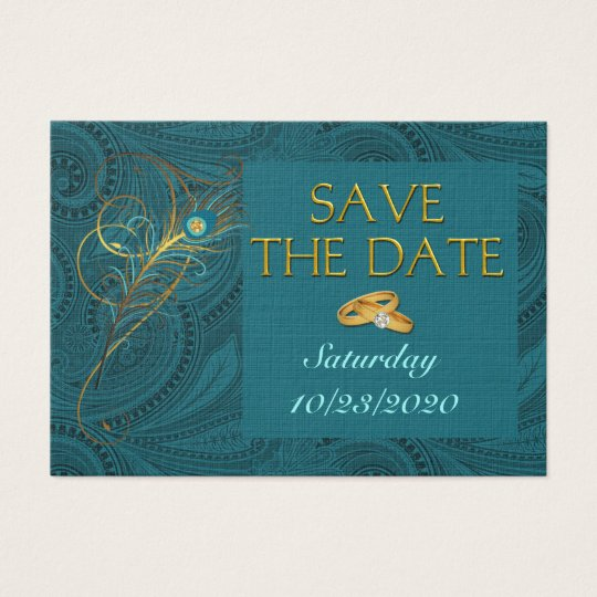 Save the Date Peacock Wedding Mini Handout Business