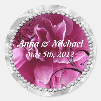 save the date, pearls, pink, floral, wedding, Spec Round Sticker