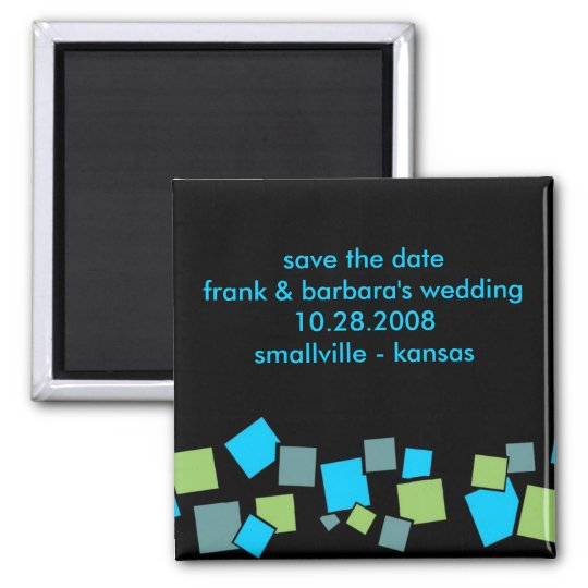 Save the Date Personalised - Blocks Square Magnet