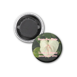 Save the Date Personalized Tropical White Flower 3 Cm Round Magnet